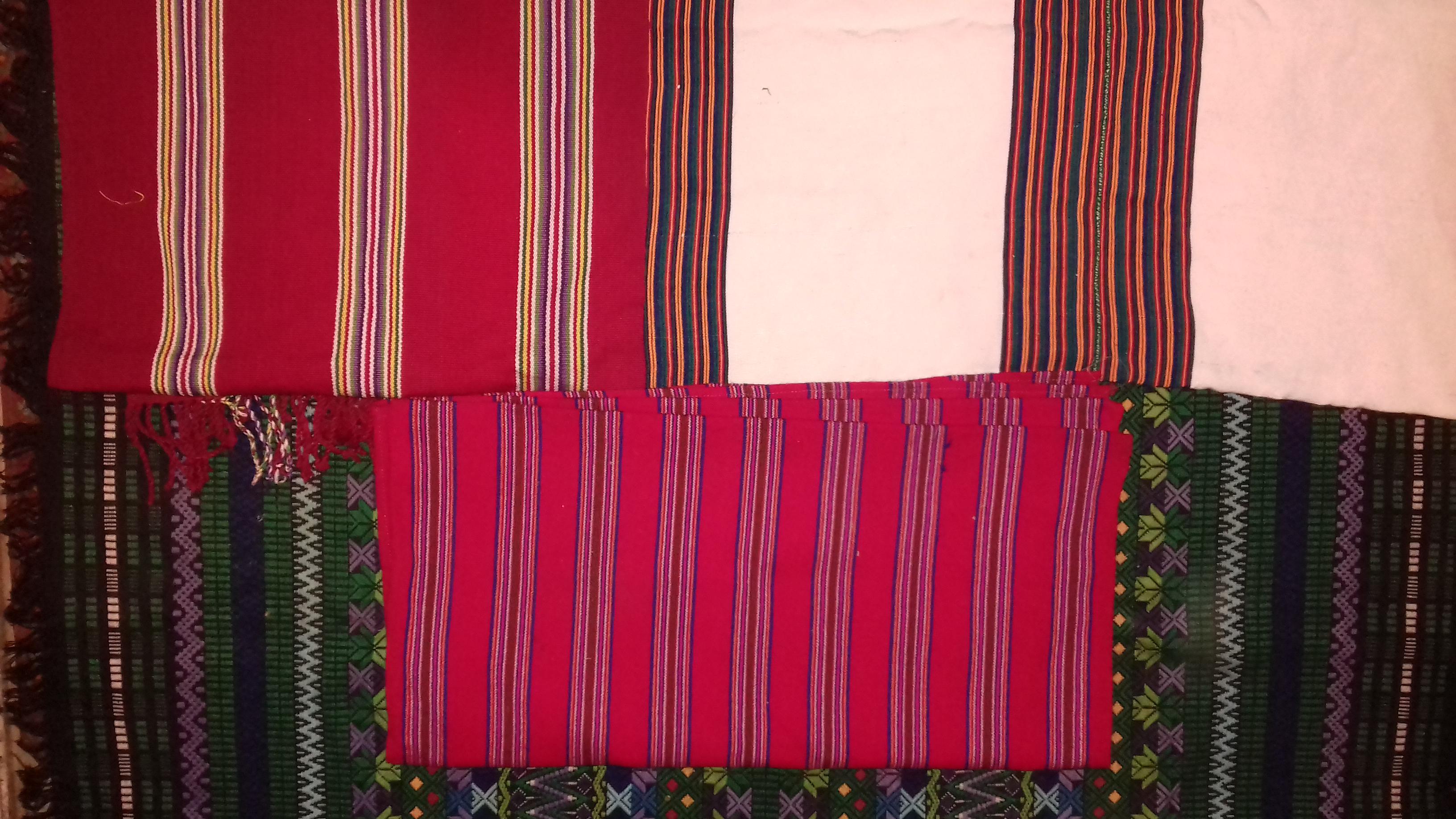 Weavings given to me by friends from San Marcos La Laguna, San Juan La Laguna, Panajachel and Santa Clara.