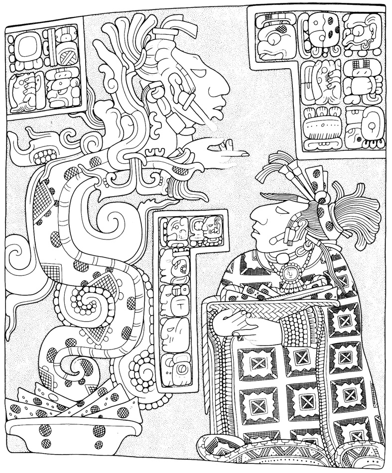 Lady Xoc pierces her tongue and receives wisdom for her people from her ancestor emerging from the mouth of the vision serpent. From http://www.latinamericanstudies.org/maya-lintels.htm