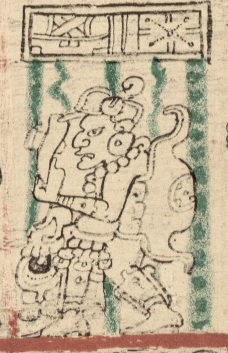 Pawahtuun, also known as Mam and god N. Known as the god of the Wayeb and the number five. An old man that carries a conch shell, who was both a beloved creator and a trickster. From the Dresden Codex