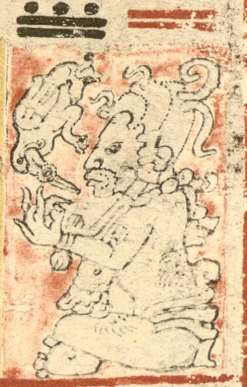 Xbalamkiej, patron of the day Kej, one of the hero twins from the Popol Vuh. From the Dresden Codex