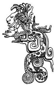 An ancestor brings wisdom through the vision serpent. Feathered Serpent Deity, detail of Classic Maya lintel at Yaxchilan, from ''A Study of Maya Art'' by Herbert Spinden, 1913 {{PD-US}}