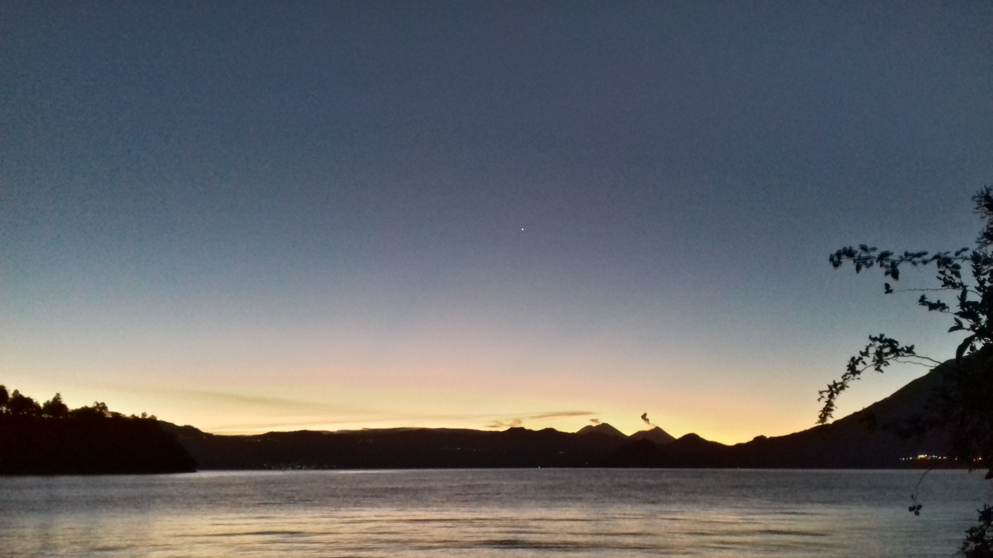 Dawn over Lake Atitlan, 21st February 2016, as seen from the garden of The Four Pillars, San Pablo La Laguna. Picture by Mark Elmy