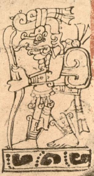Chak takes to the path. In the Dresden Codex, Chak appears in 7 positive prognostications and one negative. Chak is thought to be seen as a positive deity, and is seen here on travelling the road. From the Dresden Codex.
