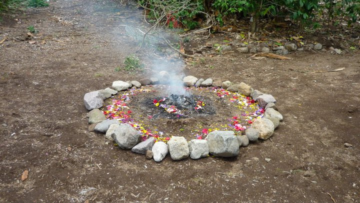 The very first fire ceremony we made on our land here, 8 Aj in the year 12 E' (24th April 2011). Picture credit