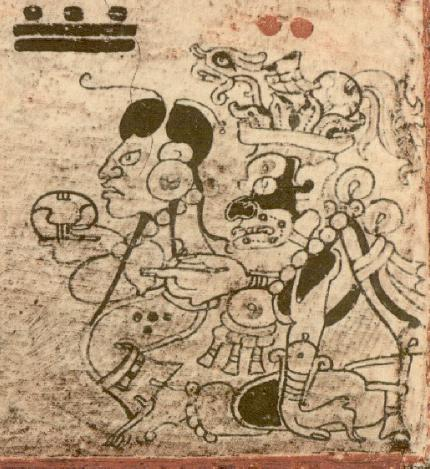 Blood Moon, mother of the Hero Twins being sent away from Xibalba after becoming pregnant. She goes to see Ixmucane, Mother of Jun Junajpu and Wucub Junajpu and is set a challenge to fill a net with corn. which she achieves and is taken in as family. She is seen here holding the K'at glyph in her hands. From The Dresden Codex.