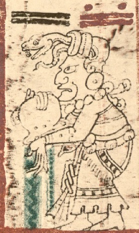 Ixchel empties the water jar, washing away the old world in order to bring in the new. From the Dresden Codex