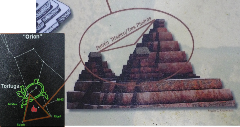 "A (slightly crude) montage showing a proposed correlation between the constellation of Orion and the triadic structure of Maya pyramids. This one is ""El Tigre"" at the El Mirador site. Photo and montage by Mark Elmy"