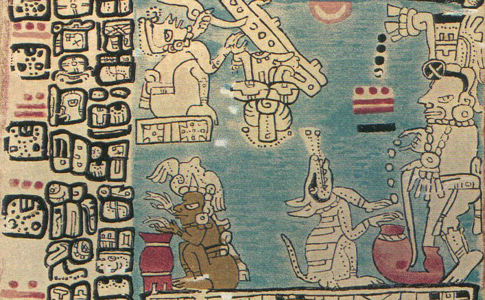 The dog sits by the cauldron, from the Madrid Codex