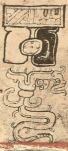 The top bar is the sky band, and hanging from it is the glyph which signifies an eclipse. In the centre of the eclipse glyph is the sun glyph, denoting a solar eclipse. From the Dresden Codex.